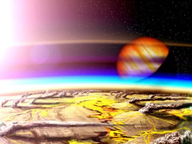 Concepto de un planeta en la zona habitable del hidrógeno volcánico. Imagen: W. Henning / NASA Goddard.