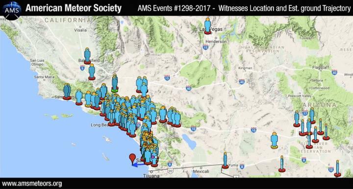 Mapa que muestra la ubicación de los observadores del bólido de San Diego, el 10 de abril de 2017. Crédito: AMS.