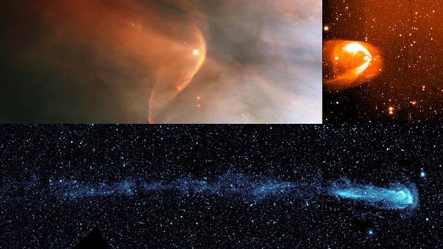 Muchas otras estrellas muestran largas colas tras de sí, como si fueran cometas. Esto había llevado a pensar que sucedía lo mismo con nuestro sistema solar. Sin embargo, las nuevas evidencias obtenidas por la NASA sugieren que la cola de nuestra heliosfera es muy corta. Imagen (de izq. a der.):  LLOrionis, BZ Cam y Mira.