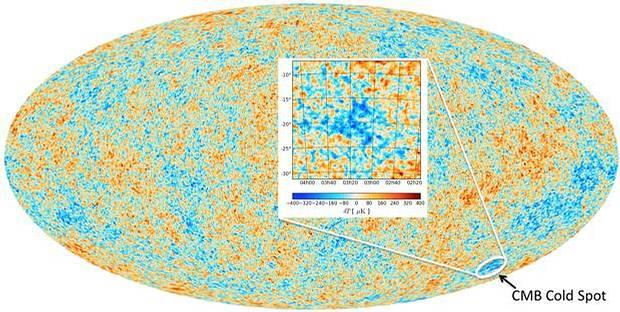 El mapa del fondo cósmico de microondas (CMB), producido por el satélite Planck. El rojo representa las regiones más cálidas, y las azules las más frías.