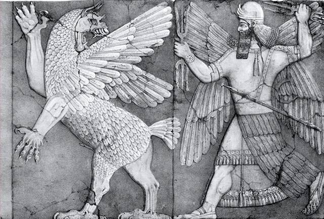 Antiguo relieve asirio donde se retrata la titánica lucha entre Marduk (Nibiru) y Tiamat.