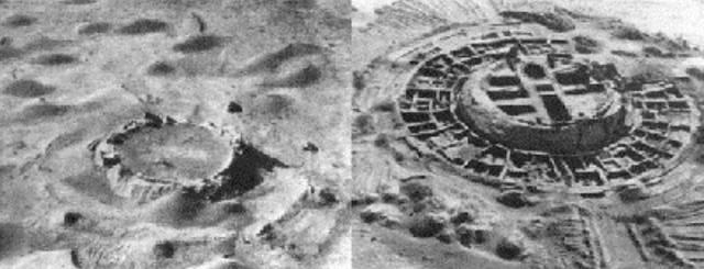 Fig. 1- La antigua fortaleza corasmia de Koy-Krylgan-kala, en Uzbekistán, parecía un cráter de impacto en una foto aérea (izquierda); sin embargo, su artificialidad se hizo evidente luego que fuera excavada en 1956 (derecha).