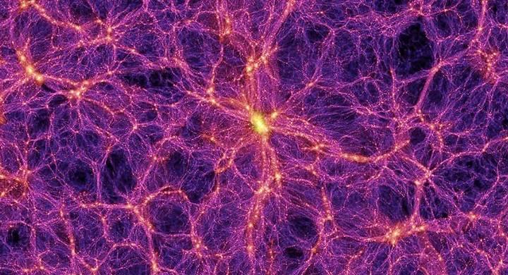 Vista del universo simulado, con la estructura como un queso suizo en filamentos y vacíos. La Vía Láctea, según los astrónomos de la universidad de Wisconsin-Madison, reside en el vacío más grande de la estructura a gran escala del cosmos.