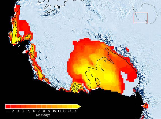 Números de días, en enero de 2016, en los que se detectó derretimiento de hielo por medio de observaciones de satélite de microondas pasivas.