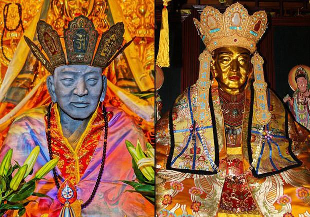 El cuerpo momificado del monje budista antes y después de ser cubierto en oro.