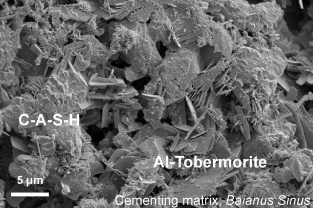 Fotografía al microscopio electrónico del hormigón.