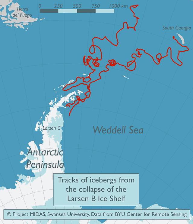 Uno de los lugares donde suelen acabar los glaciares grandes es en la plataforma de hielo superficial que rodea la isla de Georgia del Sur, unos 1.390 km al este-sureste de las islas Malvinas.
