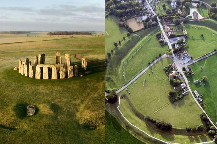 El túmulo funerario está entre Stonehenge (izquierda) y el círculo neolítico de Avebury.