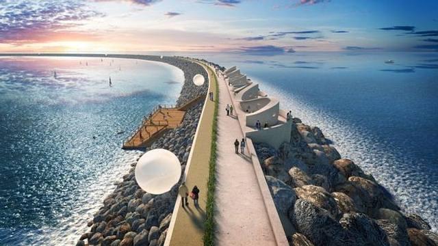 Jackson afirmó que la laguna de mareas que se prevé construir en Swansea, al sur de Gales, y que se usará para generar hidroelectricidad debería ser construida usando el antiguo conocimiento de los romanos sobre el concreto.