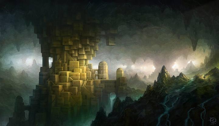 Ilustración de la ciudad subterráneo de K'n-yan.