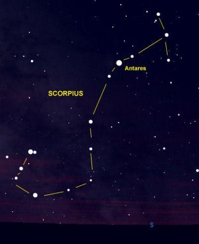 Antares en la Constelación de Escorpio.