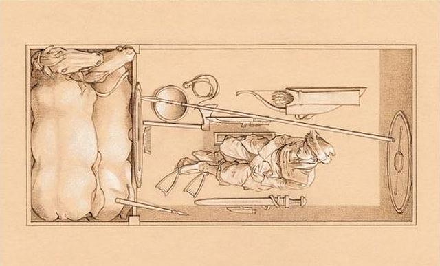 Disposición del cuerpo, los caballos y los objetos dentro de la tumba.