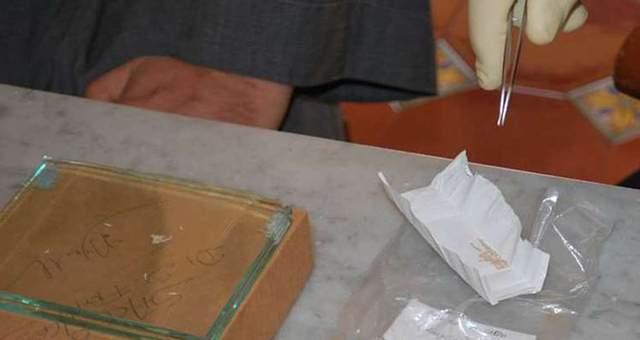 Muestras textiles del supuesto bolso de pan. Crédito: Universidad del Sur de Dinamarca.