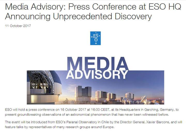 Aviso de prensa de ESO.