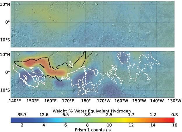 Los datos reprocesados (en el mapa inferior) muestran más «hidrógeno equivalente al agua» (azul más oscuro) en algunas partes de la región ecuatorial de Marte.