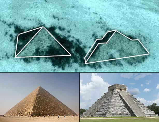 Comparación entre las formaciones submarinas y las pirámides en Egipto y Mesoamérica.
