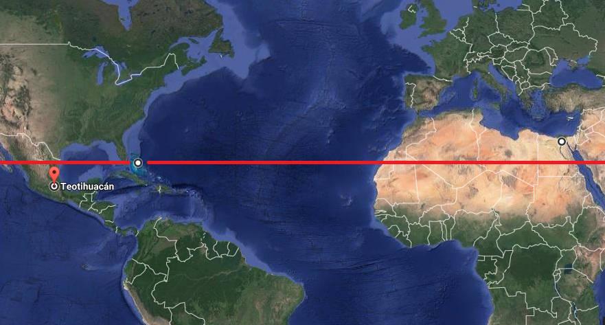 Latitud en donde se encuentran las «pirámides» submarinas de Bahamas. Unos pocos grados al sur de esta línea se encuentra Teotihuacán (México); mientras sucede lo mismo, a una distancia similar pero hacia el norte, con Guiza (Egipto).