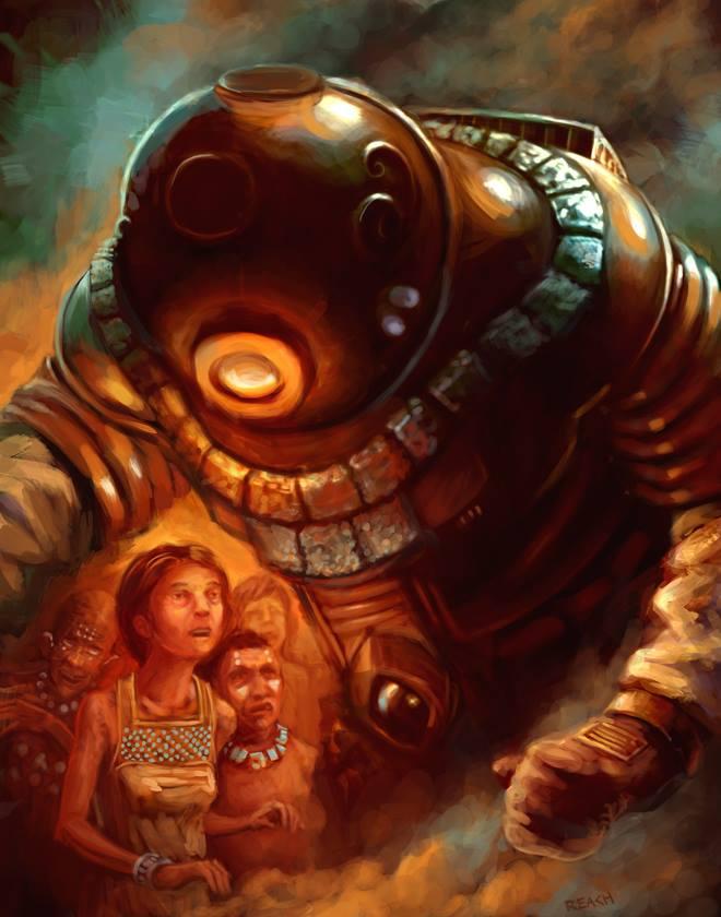 """—""""¿Eres Dios?"""" —""""¿Dios? Sí... vine de las estrellas"""". Diseño basado en estatuilla de antiguo astronauta hallada en Ecuador. Autor: Christopher Reach (chrisreach.deviantart.com/)"""