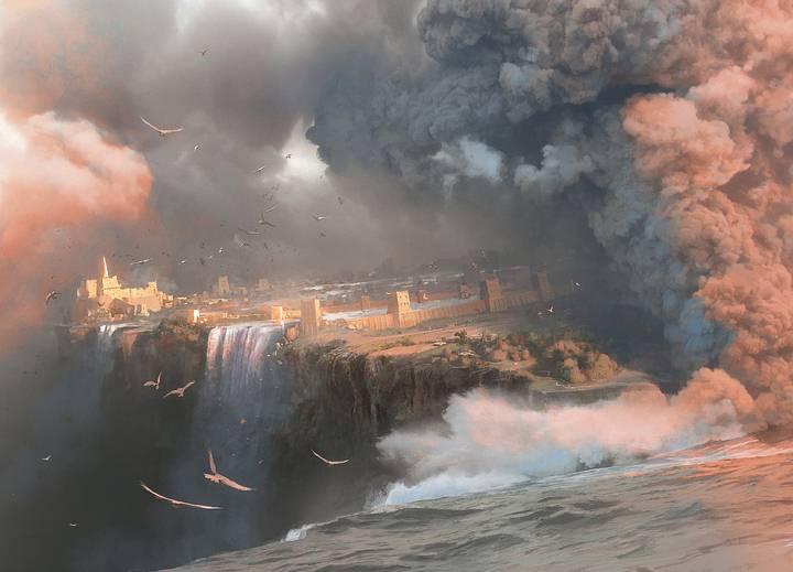 Interpretación artística de la destrucción de Atlantis, por Rocío Espín Piñar (www.artstation.com/rocioespin).