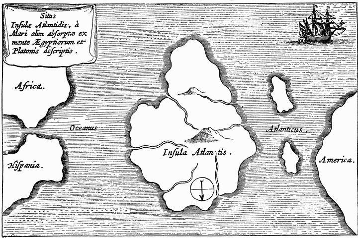 Mapa de Athanasius Kircher mostrando una supuesta ubicación de la Atlántida. (Mundus Subterraneus, 1669). Mapa orientado con el sur arriba.