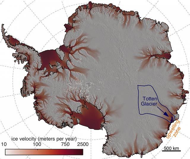 El glaciar Totten es el más grande de la Antártida, con una extensión equivalente a California.