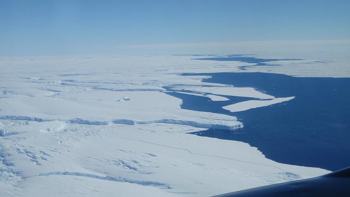 El glaciar Totten visto desde el aire.