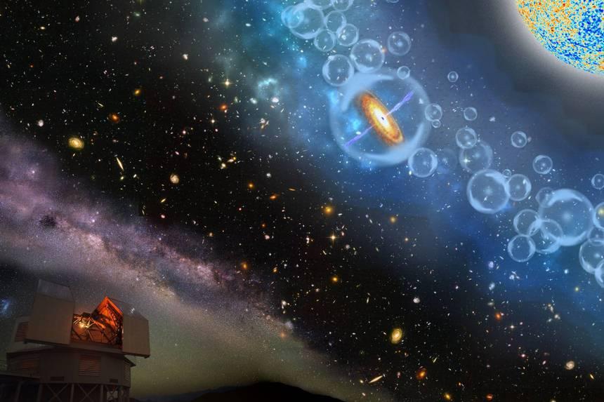 El cuásar descubierto existía en la era de la reionización del Universo, y estaba rodeado por hidrógeno neutral (en azul).
