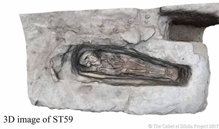 Escaneo tridimensional generado por computadora de una de las tumbas de los infantes. Crédito The Gebel el Silsila Project 2017.