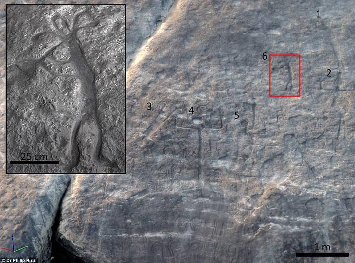 En uno de los paneles estudiados, puede verse el motivo de un «flautista» rodeado de otras figuras humanas; probablemente la representación de un ritual indígena de renovación.