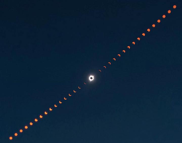 Esta imagen compuesta muestra la progresión del eclipse solar total sobre Madras, Oregon, EE.UU., el 21 de agosto de 2017. Crédito: NASA/Aubrey Gemignani.