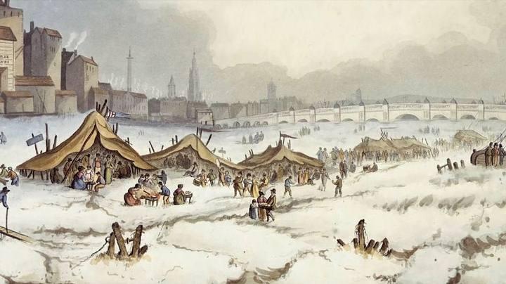 El Támesis congelado. Birkett & Hudson, 1814. Museo Marítimo Nacional de Londres.