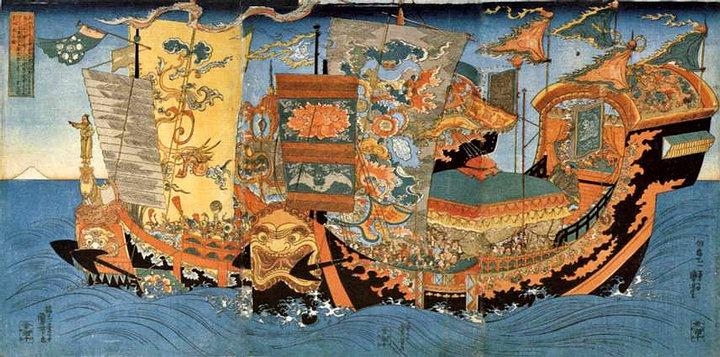 La expedición de Xu Fu que en 219 a. C. partió en busca del elixir de la vida por orden de Qin Shi Huang. Pintura japonesa del siglo XIX.