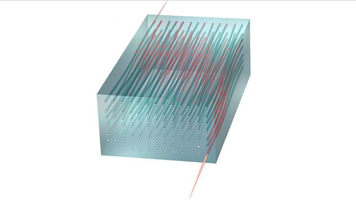 Ilustración del paso de la luz a través de una matriz bidimensional de guía de ondas. La luz que fluye a través del dispositivo se comporta de acuerdo con las predicciones del efecto Hall cuántico.