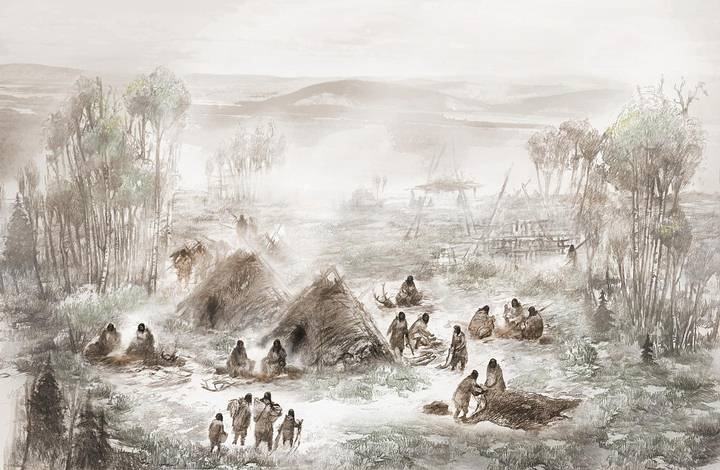 Ilustración que muestra cómo los ancestrales beringianos de Upward Sun River pudieron haber vivido. Crédito: Erix S. Carlson.
