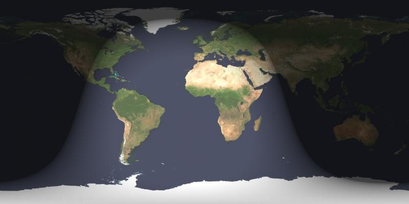 Sombreadas, las zonas del mundo donde será visible el eclipse lunar total o parcialmente.