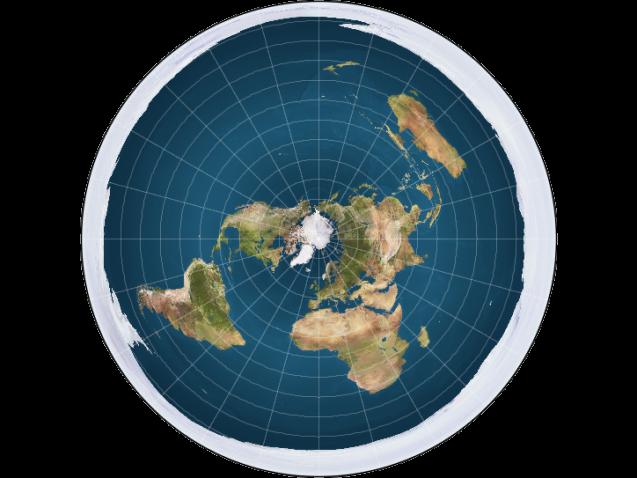 Así es como algunos terraplanistas conciben nuestro planeta. El Ártico está en el centro y un «muro de hielo» en los bordes evita que la gente se caiga...
