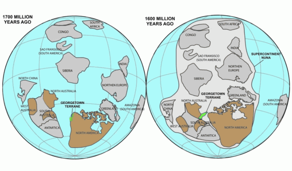 Este diagrama muestra al territorio de Georgetown (en verde) uniéndose a Australia hace alrededor de 1.600 millones de años, durante la formación del supercontinente Nuna.