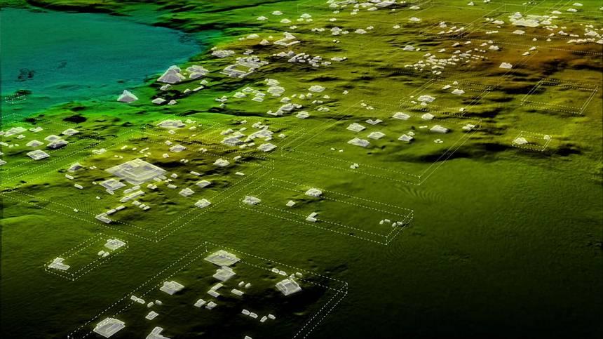 Más de 60.000 casas, palacios, súper carreteras y otros asentamientos humanos fueron revelados con escaneo láser. Foto: Wild Blue Media, National Geographic.