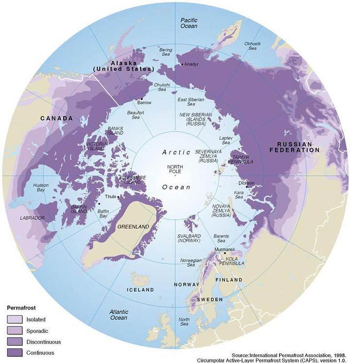 Distribución del permafrost.