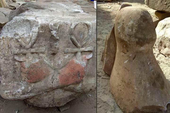 Torso (izquierda) y la corona blanca del Alto Egipto.