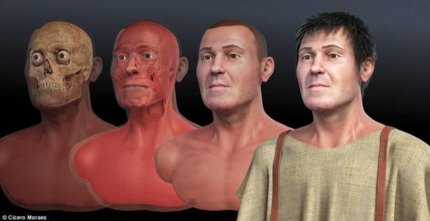 Fases de la reconstrucción facial de San Valentín, un trabajo desarrollado por un equipo multidisciplinar.