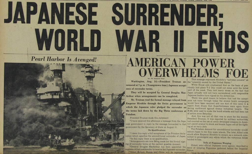 La rendición de Japón en la Segunda Guerra Mundial se produjo el 15 de agosto de 1945 y se firmó el 2 de septiembre de 1945. El Imperio de Japón aceptó la Declaración de Potsdam firmada por Estados Unidos, Reino Unido, República de China y la Unión Soviética.