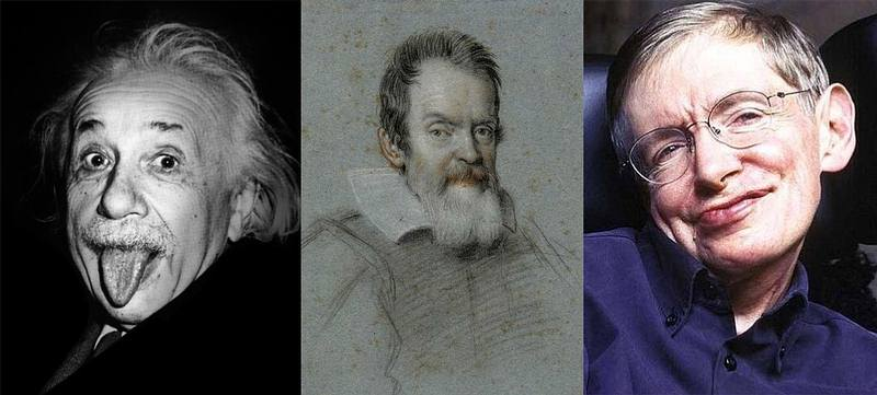 Albert Einstein, Galileo Galilei, y Stephen Hawking.