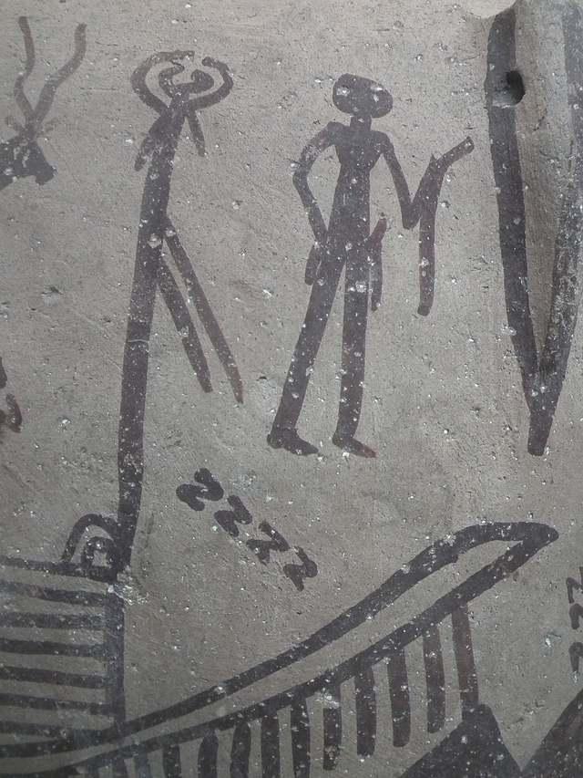 Escena ritual presente en cerámica predinástica que muestra múltiples motivos en forma de «S».