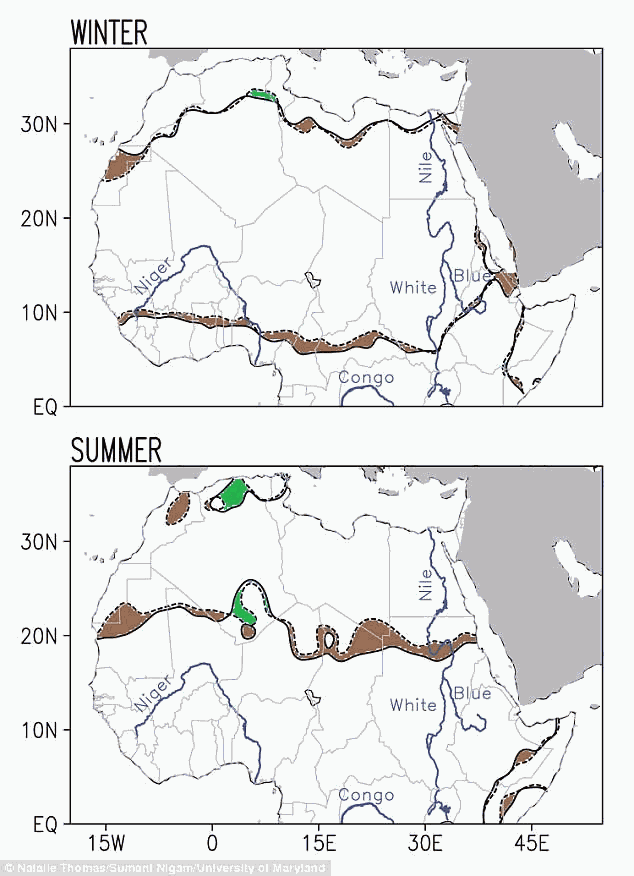 Estos mapas muestran los cambios en el Sahara desde 1920. Las líneas punteadas marcan la frontera existente en 1920, mientras que las sólidas aquella de 2013. Las regiones marrones indican el avance del desierto, y las verdes el retroceso.