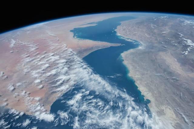 Vista del golfo de Omán desde la Estación Espacial Internacional.