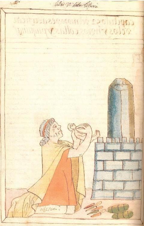 Ilustración de Martín de Murúa (Siglo XVI) de lo que probablemente fue una 'saywa'.