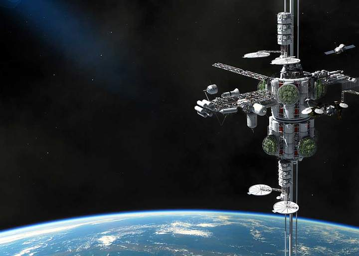El hipotético ascensor espacial conectaría la superficie de un planeta con el espacio. Básicamente es una estación espacial en una órbita geosíncrona.