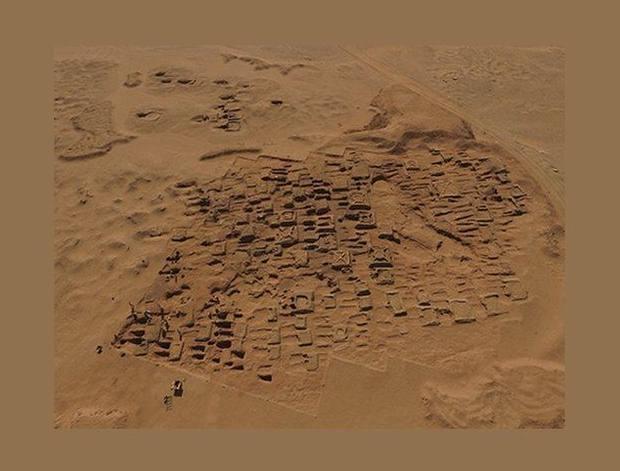 Foto aérea de la excavación.