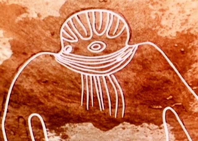 Dios Marciano de Tassili. (líneas resaltadas para una mejor visualización).